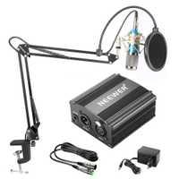 Neewer NW-800 Kit de micrófono condensador negro 48 V fuente de alimentación Phantom XLR Cable para estudio doméstico grabación Boom tijera brazo soporte