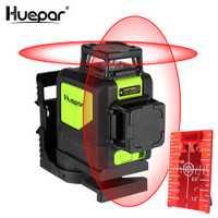 Huepar 8 líneas nivel láser autonivelante 3D nivel láser rojo haz de 360 grados cobertura Horizontal y Vertical láser con modo de pulso