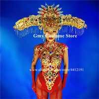 M44 cantante sexy stage lleva mono dj mono rojo oro sombreros espectáculo rendimiento vestido trajes ropa fiesta de disfraces club