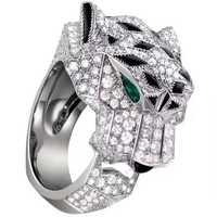Famosa marca replica joyería panthre anillo 925 joyería de plata esterlina 3A ZIRCON Leopard Panther Party anillo mujeres moda joyería
