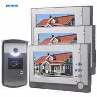 Diysecur pantalla LCD video door Phone entrar Intercom Timbres de puerta llave de la tarjeta RFID Reader LED cámara de visión nocturna 1 cámara 3 monitores