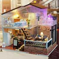 Diy casa de muñecas de madera Diy manualidades miniatura Kit de muebles de casa de muñecas Diy Casa de juguete para niño y niña juguete educativo Diy artesanía