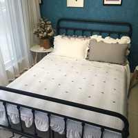 Blanco cactus bordado cubierta de cama para el verano, multi-tamaño grueso algodón/poliéster colcha acolchada, manta colcha