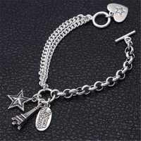Plata de Ley 925 amante corazón Torre encantos pulsera para mujer dulce Casual Thai plata 925 joyería doble cadena pulsera regalos