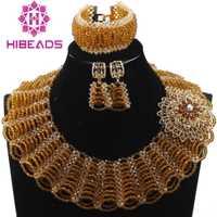 Nuevo oro chunky BiB cristal Cuentas mujeres Juegos de joyería nupcial indio bisutería Sets 2017 envío libre we025