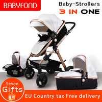 Cadre en alliage d'aluminium en cuir Pu bébé Babyfond haute paysage pli bébé poussette 3 en 1 quatre roues chariot ue standard bébé poussette