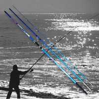 Con alto contenido de carbono Material superduro de pesca Rod 4,2 M caña telescópica mar pesca Rod Taiwán caña de pescar para carpa grande pescado B029