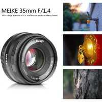 Meike 35mm f1.4 lentille de Mise Au Point Manuelle pour Sony e-mount A7R A7S A6500 A7/Fuji X-T2 X-T3/Canon EOS-M M6/M4/3 Appareil Photo Hybride + APS-C