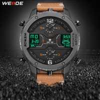 Montre de sport de WEIDE hommes Analogique Mains Numérique Calendrier Quartz bracelet en cuir marron montres-bracelets reloj hombre 2019 horloge militaire