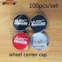 Accesorios del coche al por mayor 100 piezas Venta caliente 60mm WRC emblema del Centro de rueda Hub Caps a prueba de polvo logo insignia cubre