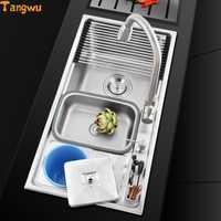 Envío gratuito multi funcional un solo fregadero de acero inoxidable 304 trefilado de acero inoxidable Fregaderos de cocina