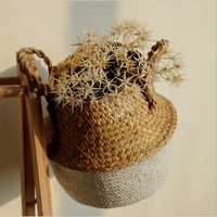 Pascua flor paja planta cesta colgante con handels plegable pan cesta panier plante cestas de mimbre tejido Belley cesta