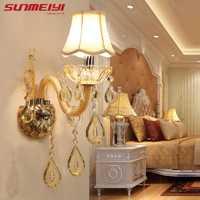 Diseño Europeo LED de lujo colgante K9 cristal lámparas de pared dormitorio cabecera lámpara de pared Luz