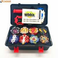 Caliente spin top explosión hoja de juguete Metal Funsion juguete caja de almacenamiento con mango lanzador de caja de plástico juguetes para los niños