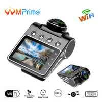 AMPrime coche Cámara DVR Dashcam IPS Super pantalla TFT FHD 1080 P Video registrador grabador 220 grado Rotary lente WIFI g-sensor