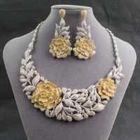 Cristales Gorgeous CZ cúbicos Zirconia gran flor collar pendiente anillo pulsera 4 Unidades novia WomenJewelry juegos ND7250D