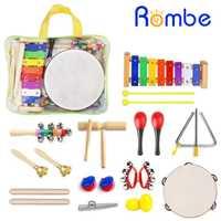 22 piezas de instrumentos musicales para niños conjunto de juguetes de educación rítmica y Musical conjunto de instrumentos musicales de percusión de madera para niños