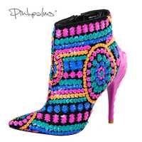 Rosa palmas zapatos mujeres botas con lentejuelas de tela fucsia bling paillette zapatos de tacón alto puntiagudo dedo del pie botas sexy botas de tobillo