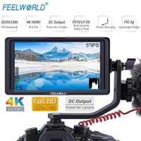 FEELWORLD F5 5 pulgadas 4 K HDMI DSLR Cámara Monitor de campo 1920x1080 pantalla para Sony Canon Nikon DJI ronin s zhiyun crane 2 cardán