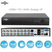 16CH 5in1 AHD DVR apoyo CVBS TVI AHD analógica cámaras IP HD P2P nube H.264 VGA HDMI grabadora de video RS485 de Audio Hiseeu