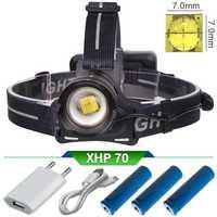 Xhp70 de alta potencia led faro Zoom lámpara frontale puissante recargable led linterna usb 18650 de la cabeza de la lámpara antorcha linterna