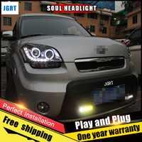 2 piezas coche estilo LED faros para Kia Soul 2010-2012 para el alma cabeza lámpara LED DRL lente doble haz H7 HID xenón bi xenón lente