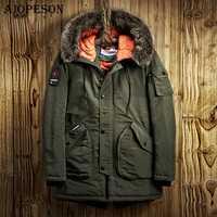 AIOPESON chaqueta de invierno informal para hombre Parkas de Color sólido gran bolsillo de invierno de alta calidad chaqueta de piel con capucha gruesa abrigo de invierno