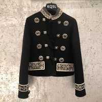 2019 primavera otoño chaqueta Streetwear chaqueta bordado Floral negro abrigo corto las mujeres