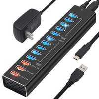 Hub USB 3,0 de carga de alta velocidad Multi USB divisor 5 V a cargador rápido adaptador de corriente PC USB C Hub nos enchufe