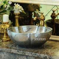 Estilo europeo de cerámica sobre encimera lavabo baño alta calidad hogar arte baño fregadero encimera lavabo yins230