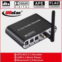2019NEW! DTS AC3 dolby Numérique 5.1 Audio Décodeur Converter Vitesse du DAC Bluetooth 5.0 USB Lecteur de Musique SPDIF Optique Coxial BT entrée
