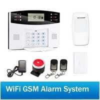Inalámbrica GSM seguridad de Casa sistema de alarma de dos vías de intercomunicación SMS aviso para poder off WiFi sistema de alarma GSM Android IOS control de la aplicación