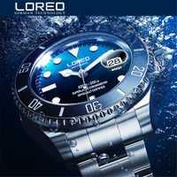 Nouveau LOREO eau fantôme série classique cadran bleu luxe hommes montres automatiques en acier inoxydable 200 m étanche mécanique montre