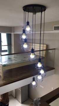 Lámparas largas para escalera Lámpara de techo Escalera Simple moderna escalera comedor candelabro restaurante personalidad creativa doble villa escalera giratoria lámpara colgante Luminaria de suspensión