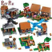Mi mundo pueblo cueva de montaña construcción bloques Compatible Legoed Minecrafted dragón Steve cifras bricolaje ladrillos juguetes para los niños