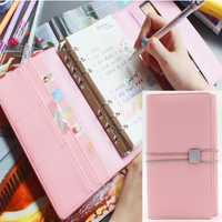 Coreano Oficina organizador Personal Kawaii Notebook lindo espiral del planificador de bloc de notas de cuero plegables Binder diario de viaje A6