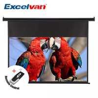 Excelvan 120 pulgadas 16:9 1,2 ganancia pared techo eléctrico motorizado proyector HD con pantalla remota Control para casa la Oficina de