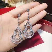 Nueva caliente 925 plata esterlina CZ calabaza pendientes con Zircon pendientes para las mujeres nupcial joyería de moda al por mayor del oído