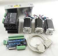 Cnc router 3 eje kit ST-M5045 (reemplazar 2M542) motor paso a paso + un tablero del desbloqueo + Nema23 425 oz-in motor + 350 W fuente de alimentación