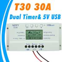 2018 nuevo controlador de carga Solar 30A MPPT PWM tensión ajustable LCD luz y doble control de temporizador 30A 12 V 24 V auto trabajo