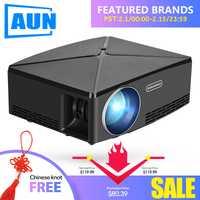 AUN MINI Proyector C80 a resolución de 1280x720 Android WIFI Proyector... portátil LED Beamer HD para cine en casa opcional C80