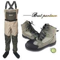 Pêche à la mouche Wading chaussures & pantalons Aqua Sneakers ensemble de vêtements respirant Rock Sports cuissardes feutre semelle bottes chasse No-slip Fish