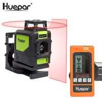 Huepar 3D rojo 5 líneas línea cruzada nivel láser 1*360 Rotary y 1 * Vertical autonivelante láseres con Detector de láser Digital receptor
