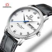 2018 nuevo reloj de cuero de marca de lujo de Carnaval para hombre, relojes mecánicos automáticos de negocios, relojes de diseño minimalista de Suiza