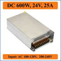 600 W 24 V 25A de alimentación de conmutación para tira de leds luces SMPS para leds conductores AC100-240V entrada transformadores 24 V DC de salida