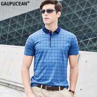Hombre Polo 70% algodón 30% seda natrual alta calidad moda masculina verano Azul Rojo Cool casual manga corta hombres Polo camisa
