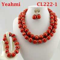 Perlas de Coral conjunto de joyas de collar de Coral de conjuntos de joyas para las mujeres mejor novia regalo CL222-1