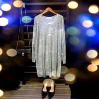 Lentejuelas vestido cuello v cordón vestido de gran tamaño vestido de suéter 2019 primavera otoño fiesta sexy de moda de plata de oro azul Rosa negro