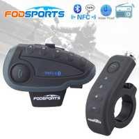 Fodsports V8 Pro Intercomunicador BT Interphone de la motocicleta casco auricular Bluetooth Intercom Intercomunicador moto con FM NFC