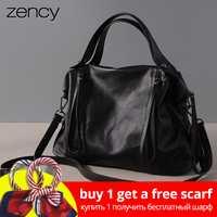 Zency 100% de alta calidad de cuero genuino de las mujeres bolso Retro bolso Vintage mensajero Crossbody bolsa marrón negro